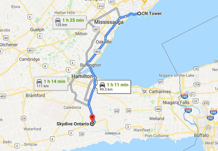 Driving directions from Skydive Ontario to the CN Tower recommended tours
